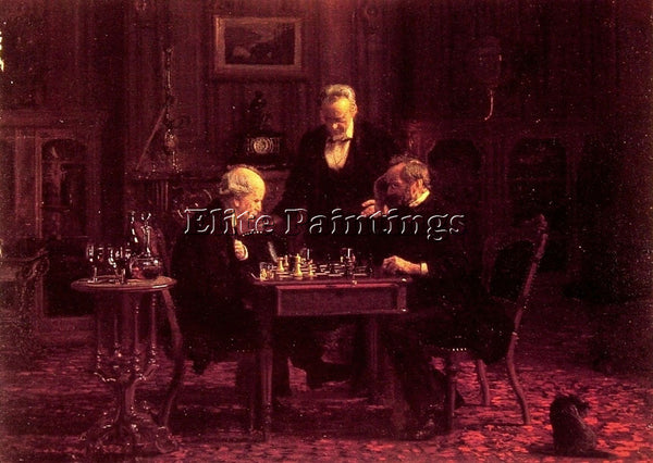 THOMAS EAKINS THE CHESS PLAYERS ARTIST PAINTING REPRODUCTION HANDMADE OIL CANVAS