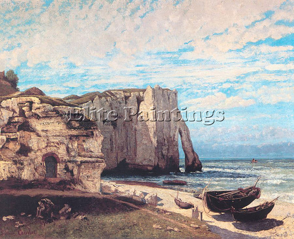 GUSTAVE COURBET THE CLIFF AT ETRETAT AFTER THE STORM ARTIST PAINTING HANDMADE