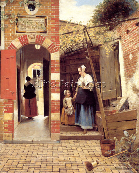 PIETER DE HOOCH THE COURTYARD OF A HOUSE IN DELFT ARTIST PAINTING REPRODUCTION