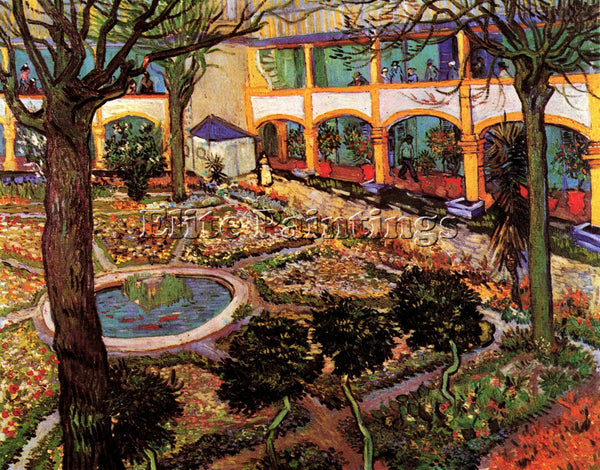 VAN GOGH THE COURTYARD OF THE HOSPITAL AT ARLES ARTIST PAINTING REPRODUCTION OIL