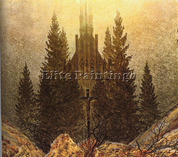CASPAR DAVID FRIEDRICH THE CROSS ON MOUNTAIN KUNSTMUSEUM AT DUSSELDORF PAINTING