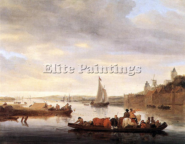 SALOMON VAN RUYSDAEL THE CROSSING AT NIMWEGEN ARTIST PAINTING REPRODUCTION OIL