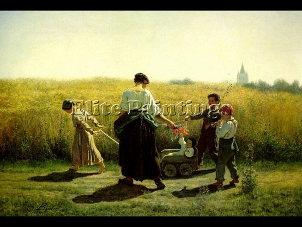 JULES BRETON THE DEPARTURE FOR THE FIELDS ARTIST PAINTING REPRODUCTION HANDMADE