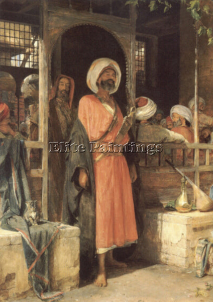 JOHN FREDERICK LEWIS THE DOOR OF A CAFE IN CAIRO ARTIST PAINTING HANDMADE CANVAS