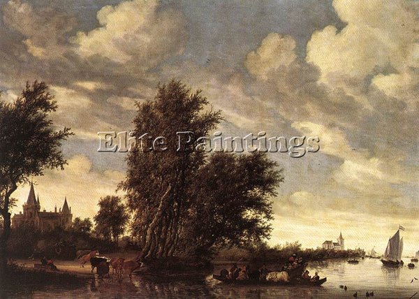 SALOMON VAN RUYSDAEL THE FERRY BOAT ARTIST PAINTING REPRODUCTION HANDMADE OIL