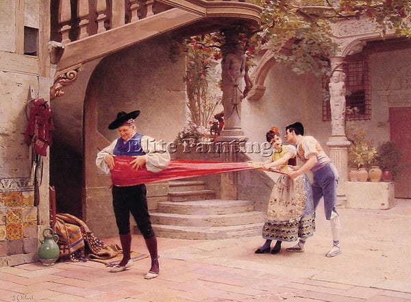 JEHAN GEORGES VIBERT THE FINAL TOUCH ARTIST PAINTING REPRODUCTION HANDMADE OIL