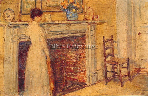CHILDE HASSAM THE FIREPLACE ARTIST PAINTING REPRODUCTION HANDMADE OIL CANVAS ART