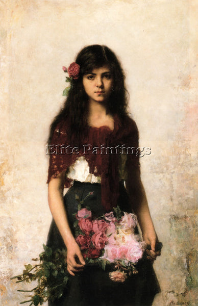 ALEXEI ALEXEIVICH HARLAMOFF THE FLOWER SELLER ARTIST PAINTING REPRODUCTION OIL