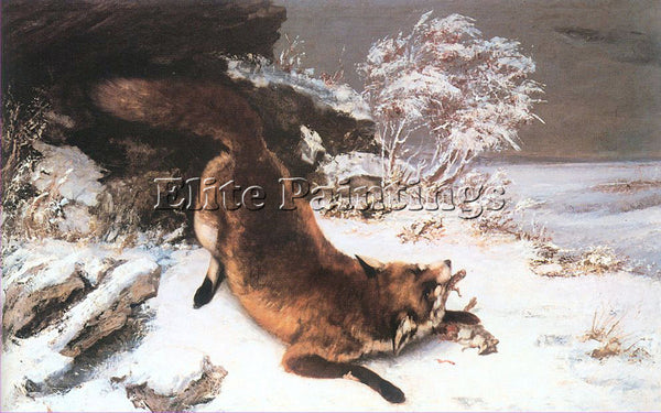 GUSTAVE COURBET THE FOX IN THE SNOW ARTIST PAINTING REPRODUCTION HANDMADE OIL