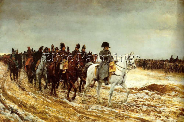 JEAN-LOUIS ERNEST MEISSONIER THE FRENCH CAMPAIGN 1861 ARTIST PAINTING HANDMADE