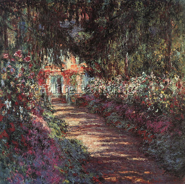 CLAUDE MONET THE GARDEN IN FLOWER ARTIST PAINTING REPRODUCTION HANDMADE OIL DECO