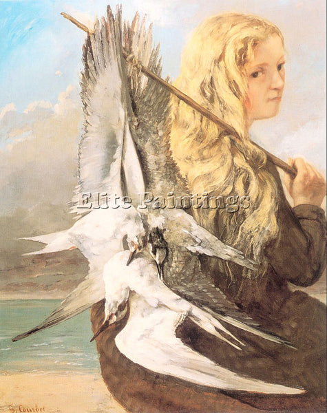 GUSTAVE COURBET THE GIRL WITH THE SEAGULLS TROUVILLE ARTIST PAINTING HANDMADE