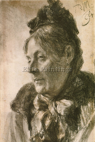 ADOLPH VON MENZEL THE HEAD OF A WOMAN ARTIST PAINTING REPRODUCTION HANDMADE OIL
