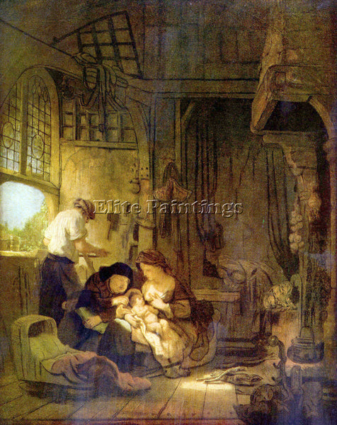 REMBRANDT THE HOLY FAMILY 1  ARTIST PAINTING REPRODUCTION HANDMADE CANVAS REPRO