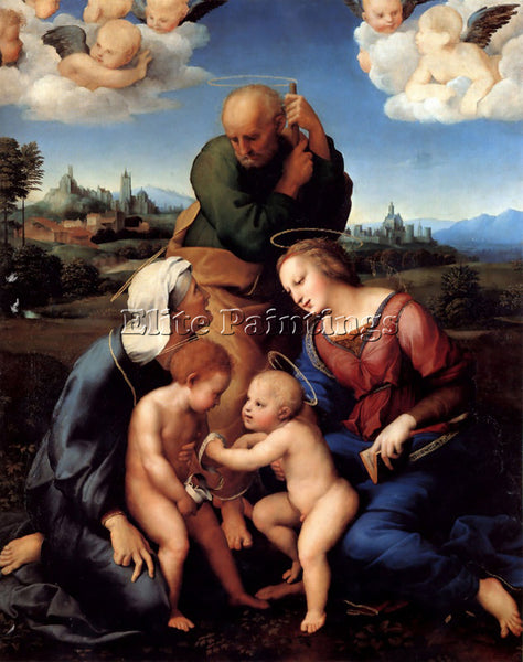 RAPHAEL THE HOLY FAMILY WITH SAINTS ELIZABETH AND JOHN ARTIST PAINTING HANDMADE