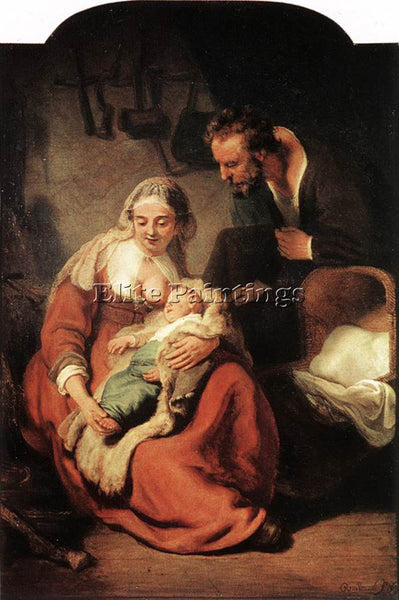 REMBRANDT THE HOLY FAMILY ARTIST PAINTING REPRODUCTION HANDMADE OIL CANVAS REPRO