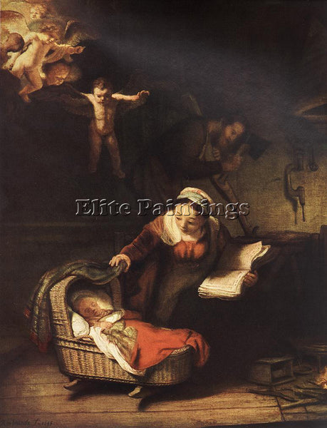 REMBRANDT THE HOLY FAMILY WITH ANGELS ARTIST PAINTING REPRODUCTION HANDMADE OIL