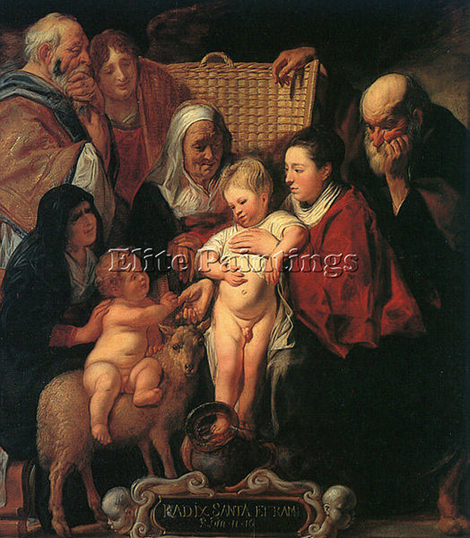 JACOB JORDAENS HOLY FAMILY WITH ST ANNE YOUNG BAPTIST AND PARENTS ARTIST CANVAS