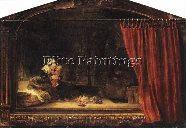 REMBRANDT THE HOLY FAMILY WITH A CURTAIN ARTIST PAINTING REPRODUCTION HANDMADE