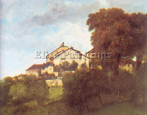GUSTAVE COURBET THE HOUSES OF THE CHATEAU DORNANS ARTIST PAINTING REPRODUCTION