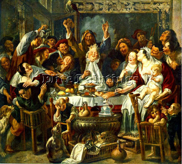 JACOB JORDAENS THE KING DRINKS2 ARTIST PAINTING REPRODUCTION HANDMADE OIL CANVAS