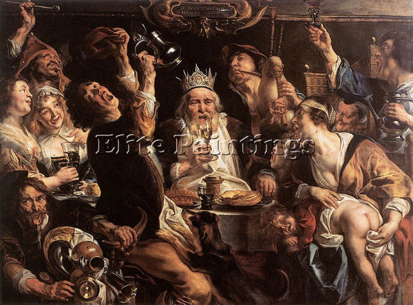JACOB JORDAENS THE KING DRINKS ARTIST PAINTING REPRODUCTION HANDMADE OIL CANVAS