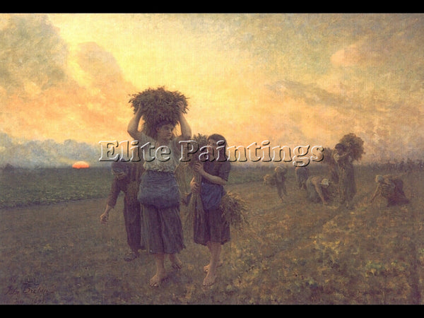 JULES BRETON THE LAST GLEANINGS ARTIST PAINTING REPRODUCTION HANDMADE OIL CANVAS