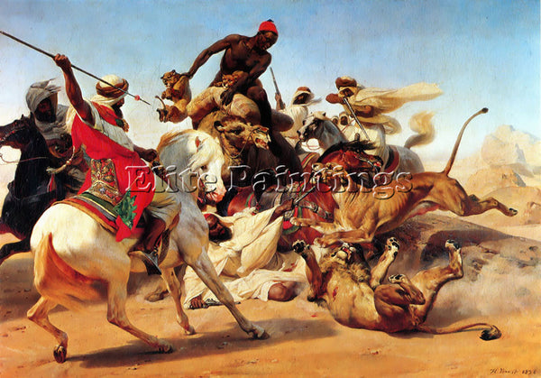 HORACE VERNET THE LION HUNT ARTIST PAINTING REPRODUCTION HANDMADE OIL CANVAS ART