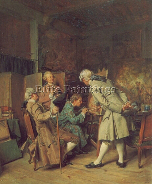 JEAN-LOUIS ERNEST MEISSONIER THE LOVERS OF PAINTING ARTIST PAINTING REPRODUCTION