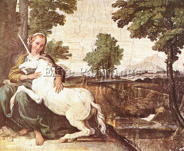 DOMENICHINO THE MAIDEN AND THE UNICORN ARTIST PAINTING REPRODUCTION HANDMADE OIL