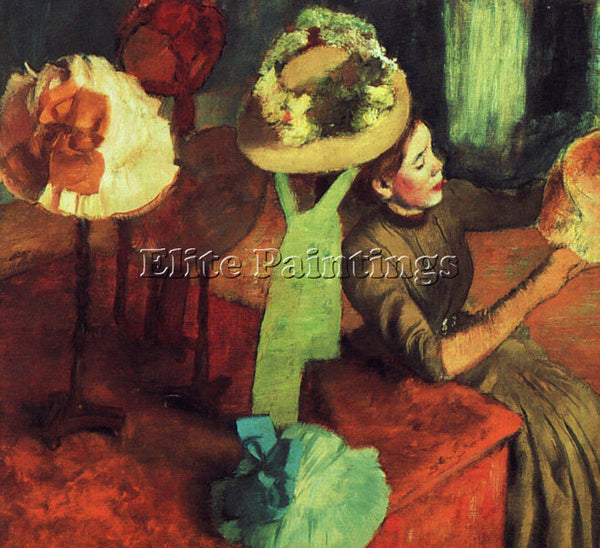EDGAR DEGAS THE MILLINERY SHOP ARTIST PAINTING REPRODUCTION HANDMADE OIL CANVAS