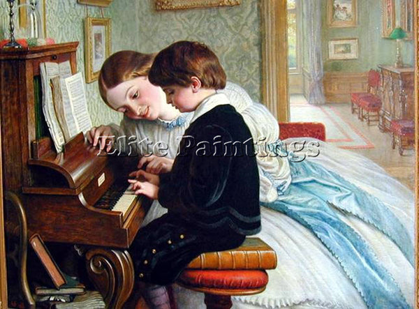CHARLES WEST COPE MUSIC LESSON ARTIST PAINTING REPRODUCTION HANDMADE OIL CANVAS