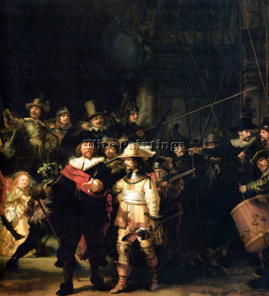 REMBRANDT THE NIGHT WATCH DETAIL ARTIST PAINTING REPRODUCTION HANDMADE OIL REPRO