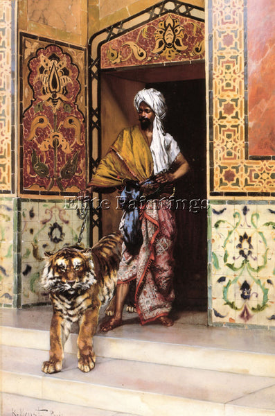 RUDOLF ERNST THE PASHAS FAVOURITE TIGER ARTIST PAINTING REPRODUCTION HANDMADE