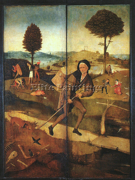 HIERONYMUS BOSCH THE PATH OF LIFE OUTER WINGS OF A TRIPTYCH ARTIST PAINTING OIL