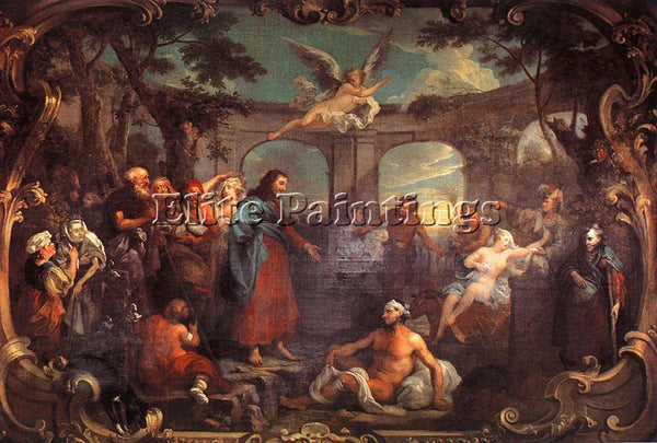 WILLIAM HOGARTH THE POOL OF BETHESDA ARTIST PAINTING REPRODUCTION HANDMADE OIL