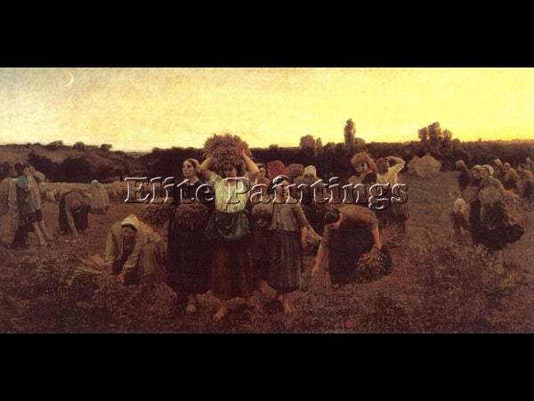 JULES BRETON THE RECALL OF THE GLEANERS ARTIST PAINTING REPRODUCTION HANDMADE