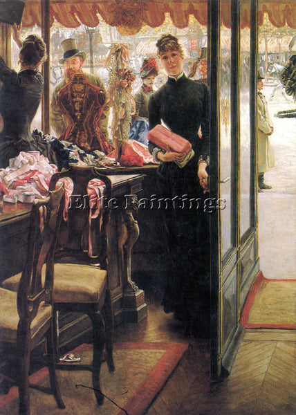 TISSOT THE SELLER ARTIST PAINTING REPRODUCTION HANDMADE CANVAS REPRO WALL DECO