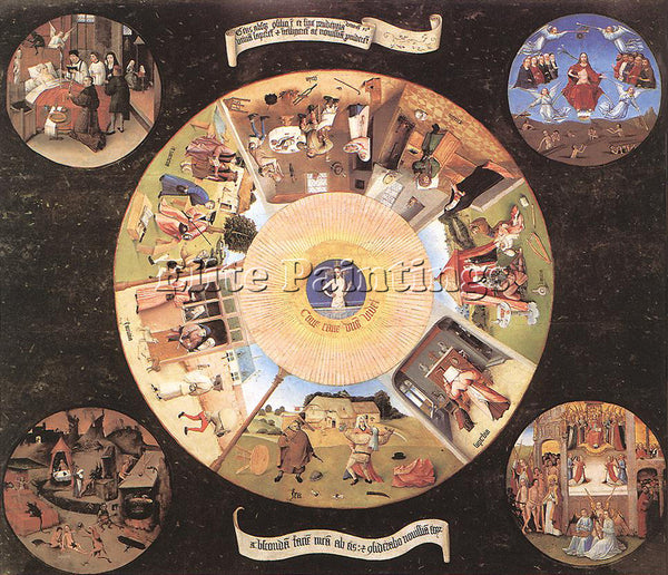HIERONYMUS BOSCH THE SEVEN DEADLY SINS ARTIST PAINTING REPRODUCTION HANDMADE OIL