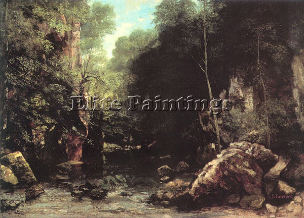 GUSTAVE COURBET THE SHADED STREAM THE STREAM OF THE PUITS NOIR PAINTING HANDMADE