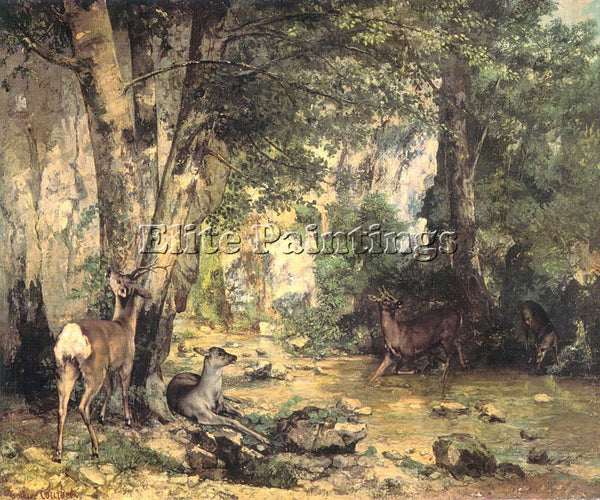 GUSTAVE COURBET THE SHELTER ROE DEER AT STREAM PLAISIR FONTAINE DOUBS ARTIST OIL
