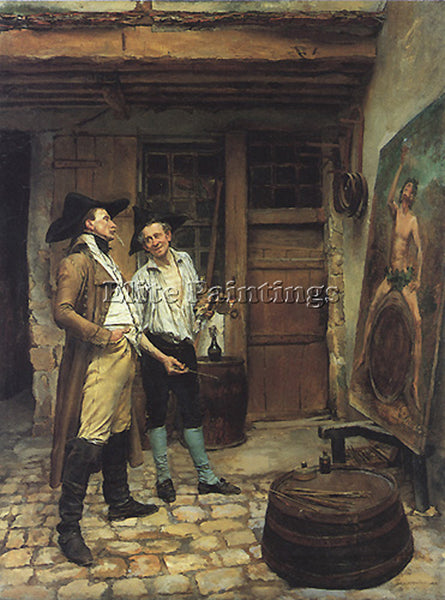 JEAN-LOUIS ERNEST MEISSONIER THE SIGN PAINTER 23 5X17 5IN ARTIST PAINTING CANVAS