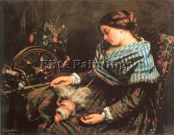GUSTAVE COURBET THE SLEEPING SPINNER ARTIST PAINTING REPRODUCTION HANDMADE OIL