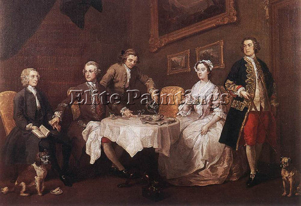 WILLIAM HOGARTH THE STRODE FAMILY ARTIST PAINTING REPRODUCTION HANDMADE OIL DECO