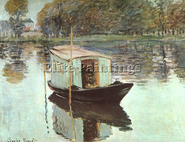 CLAUDE MONET THE STUDIO BOAT ARTIST PAINTING REPRODUCTION HANDMADE CANVAS REPRO