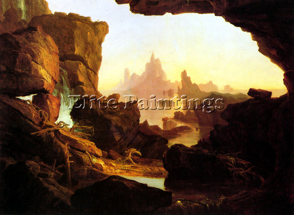 THOMAS COLE THE SUBSIDING OF THE WATERS OF THE DELUGE ARTIST PAINTING HANDMADE