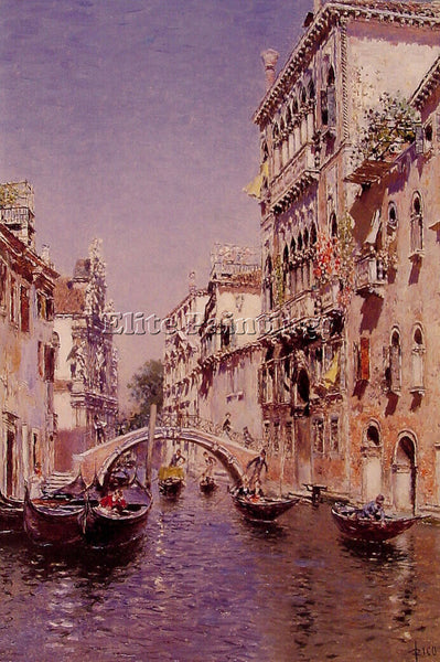 MARTIN RICO Y ORTEGA THE SUNNY CANAL ARTIST PAINTING REPRODUCTION HANDMADE OIL