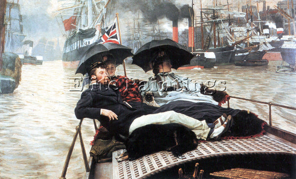 TISSOT THE THAMES ARTIST PAINTING REPRODUCTION HANDMADE CANVAS REPRO WALL DECO