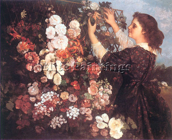 GUSTAVE COURBET THE TRELLIS ARTIST PAINTING REPRODUCTION HANDMADE OIL CANVAS ART