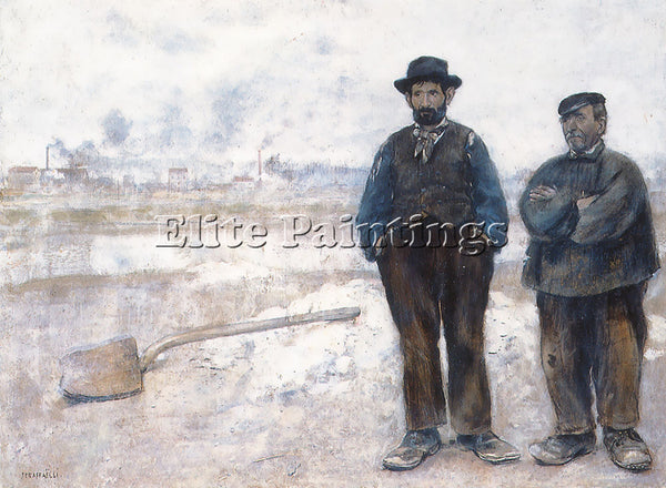 JEAN FRANCOIS RAFFAELLI THE TWO WORKMEN ARTIST PAINTING REPRODUCTION HANDMADE
